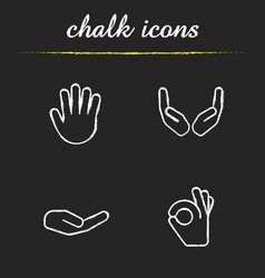 hand gestures chalk icons set vector image