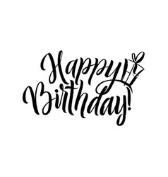 Happy birthday calligraphy greeting card with gift vector