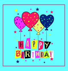 Happy birthday card with doodle hand drawn vector
