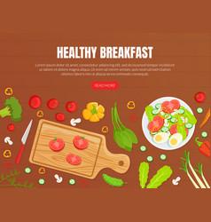 Healthy breakfast landing page template top view vector
