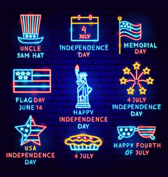 independence day label set vector image