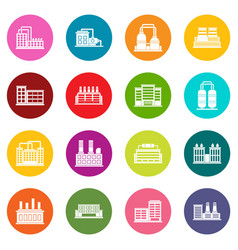 industrial building icons many colors set vector image