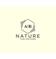 Initial ab letters botanical feminine logo vector