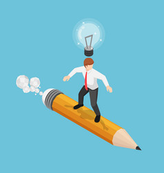 isometric businessman surfing on pencil with vector image