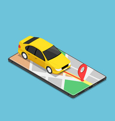 Isometric car use gps map navigation application vector