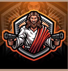 Jesus gunner esport mascot logo design vector