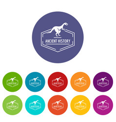 jurassic icons set color vector image