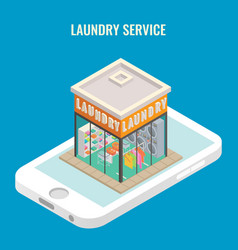 Laundry mobile flat 3d isometric vector
