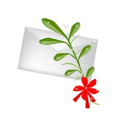 Lovely Green Mistletoe with A Red Bow and Letter vector
