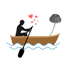 lover fitness man and barbell ride in boat lovers vector image