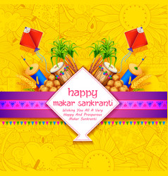 makar sankranti wallpaper with colorful kite for vector image