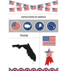 Map of florida set of flat design icons vector
