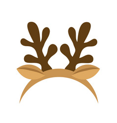 Mask with reindeer antler isolated on white vector