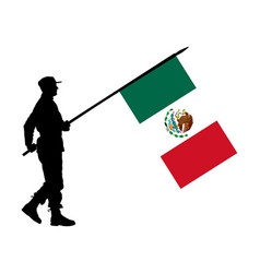 Mexico soldier with flag mexico silhouette vector