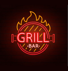 Neon sign of grill bar vector