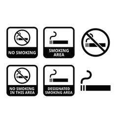 No smoking smoking area icons set vector image