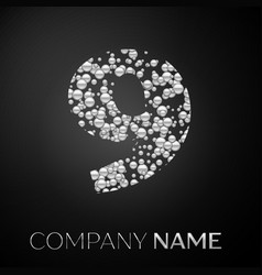 number nine logo silver dots alphabet logotype vector image