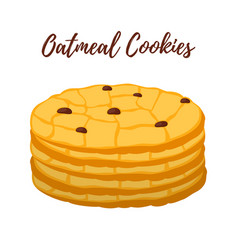 oatmeal cookie oat breakfasttasty biscuit vector image