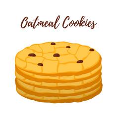 Oatmeal cookie oat breakfasttasty biscuit vector