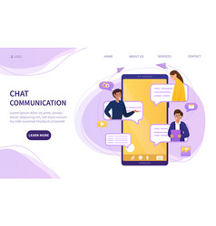 online chat communication on a mobile phone vector image