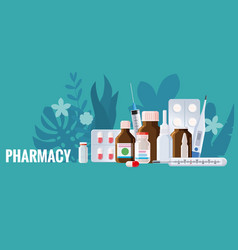 Pharmacy template frame with blister spray vector