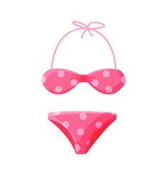 pink dotted bikini female swimwear summer vector image