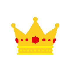 pixel art golden crown with jewels vector image