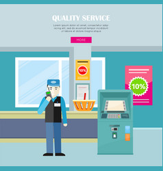 Quality service in supermarket web banner vector