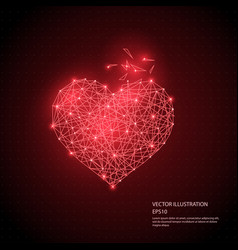 red heart low poly wire frame isolated vector image