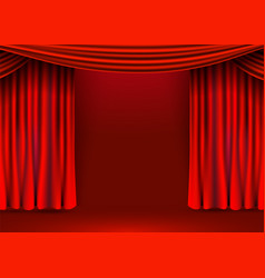 Red velvet curtains background show stage or vector