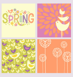 Retro spring birds flowers doodles vector