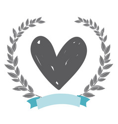 Rustic Heart With Leaves Hand Drawn Royalty Free Vector