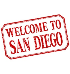 San diego - welcome red vintage isolated label vector