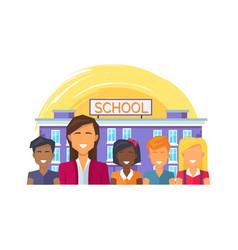 School teacher and children vector