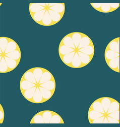 Seamless pattern with fresh lemons on blue vector