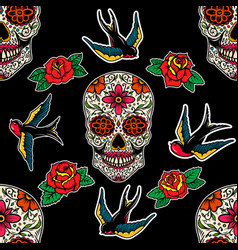 seamless pattern with mexican sugar skulls roses vector image