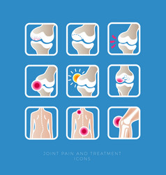set icon joint treatment arthritis scoliosis back vector image
