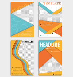 set of annual report brochures flyers design vector image