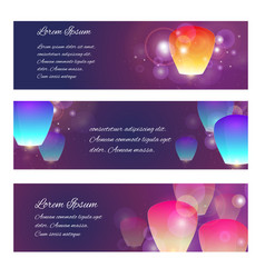 set of horizontal banners with sky lanterns vector image