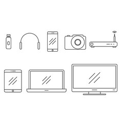 set of icons gadgets vector image