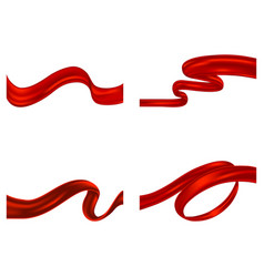 set of red curled textile ribbons vector image
