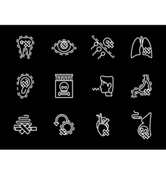 Set of smoking harm white line icons vector image
