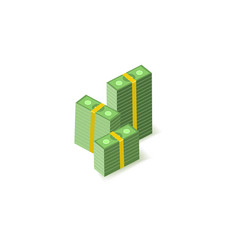 Stacks green paper banknotes in packs one vector