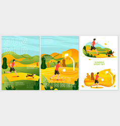summer posters - running with dog in park vector image