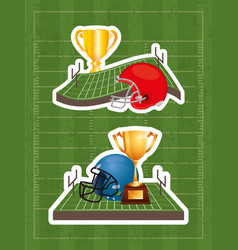 Superbowl sport poster with trophy and helmet in vector