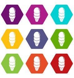 three balls ice cream icons set 9 vector image