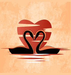 Two swans in front of heart retro style vector