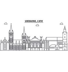 Ukraine lviv architecture line skyline vector