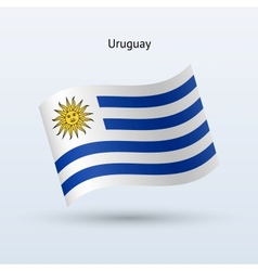 Uruguay flag waving form vector image