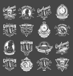 Vintage gentleman club logotypes collection vector